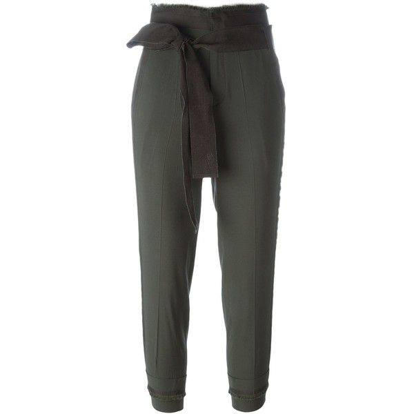 A.F.Vandevorst 161 Pearl Trousers ($212) ❤ liked on Polyvore featuring pants, capris, green, green high waisted pants, high-waist trousers, cropped trousers, green pants and cropped capri pants