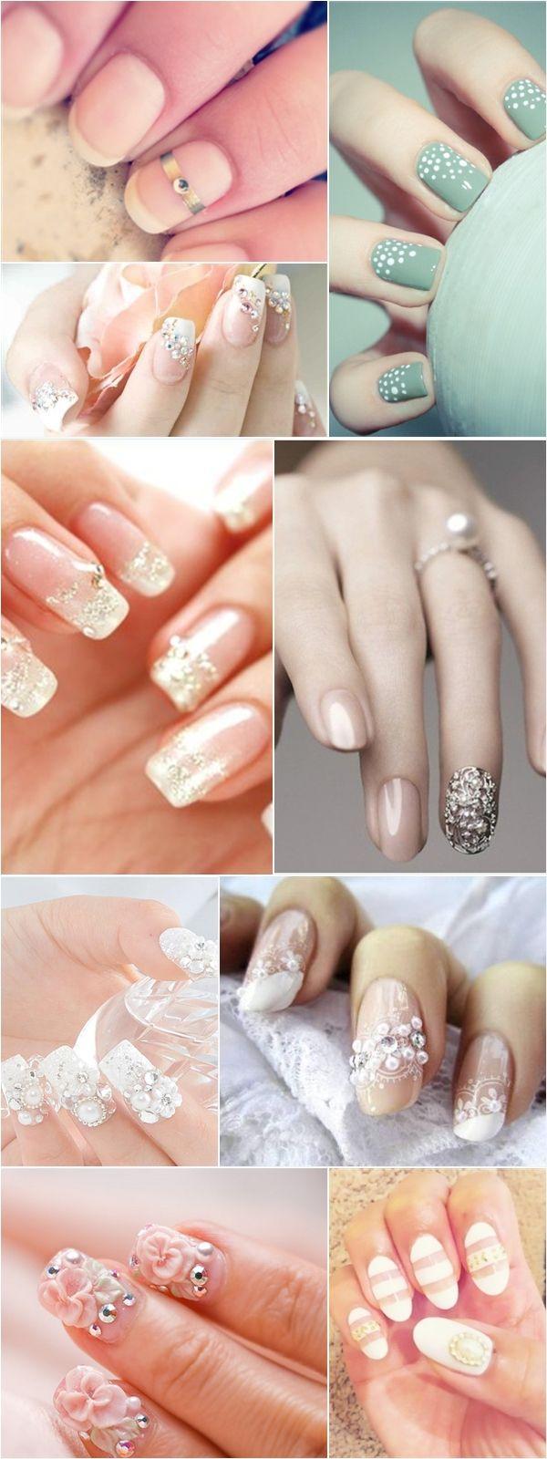Recopilación de nail art de colores claros.