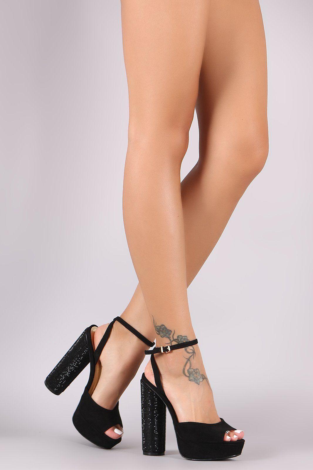 a0fbc384981 Ankle Strap Rhinestone Chunky Platform Heels