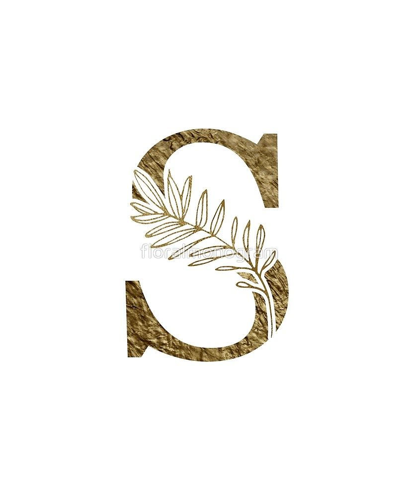 Monogram S Gold Flowers And Foliage Sticker