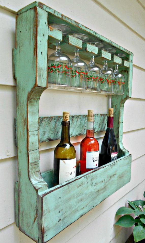 Rustic Wood Wine Rack Distressed Turquoise Pallet Wine Rackwine