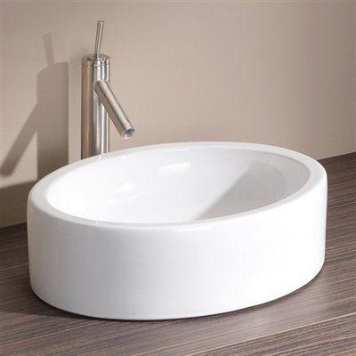 Cheviot 1280 WH Oval Overcounter Vessel Sink, White This Cheviot Oval  Overcounter Vessel Sink