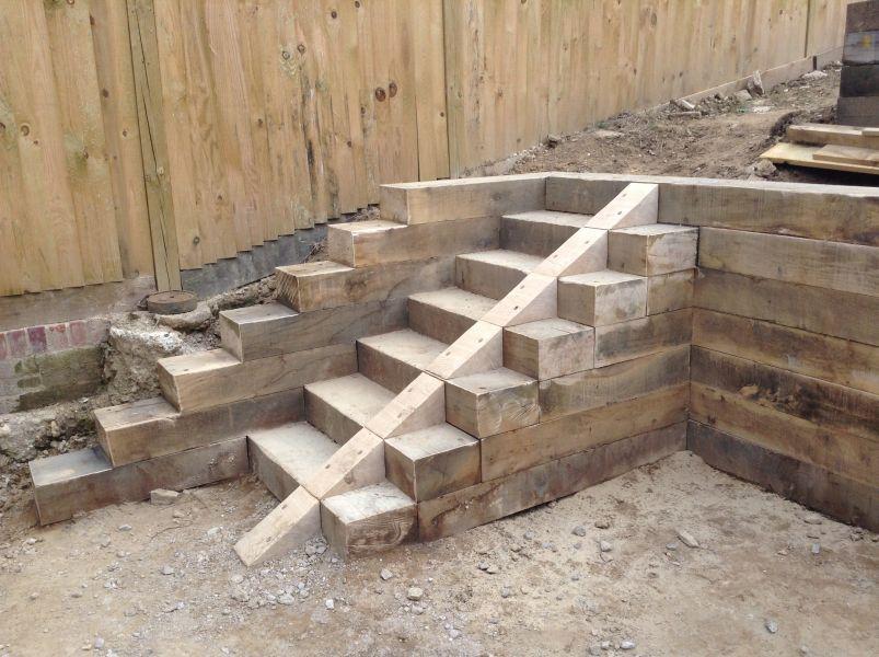 Railway sleeper steps and retaining walls garden for Garden design railway sleepers