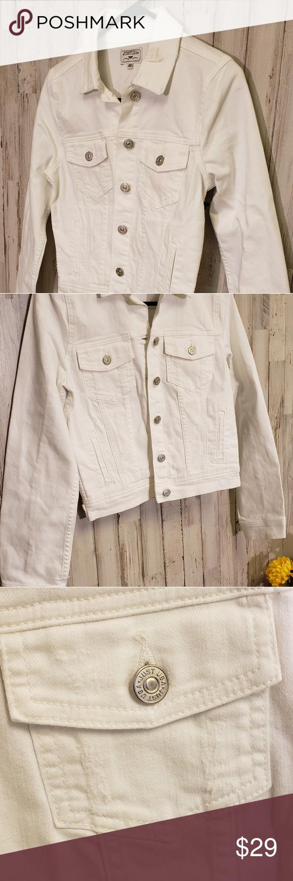 Just Usa White Distressed Denim Jacket Size Xs Distressed Denim Jacket Distressed Denim Denim Jacket [ 1740 x 580 Pixel ]