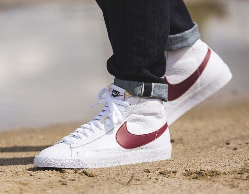 nike blazer mid white and red