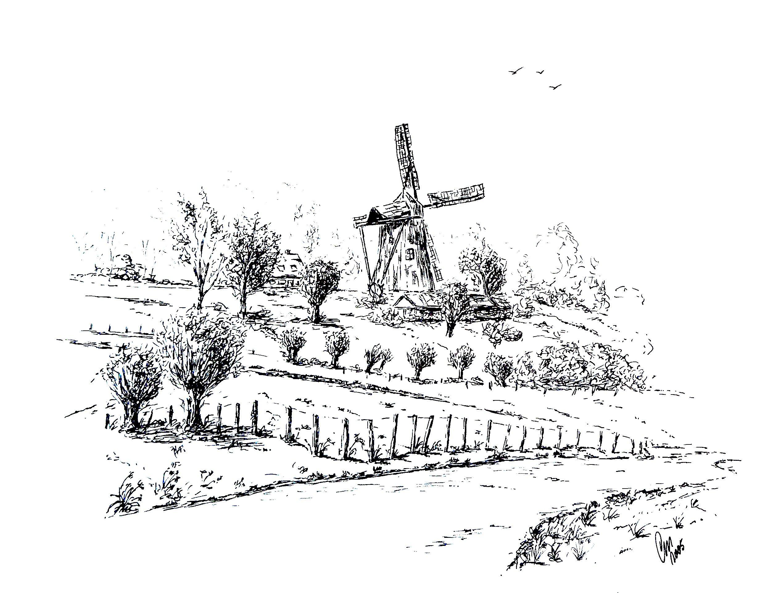 Molen In Limburg Landschap Pentekeningen Schetsen