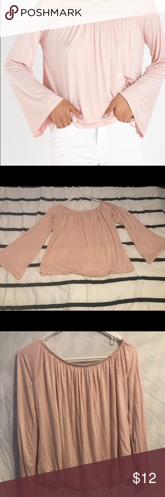97aa157f4159c2 Off shoulder petrova top Off shoulders pink long sleeve top new never used Cotton  On Tops Tees - Long Sleeve