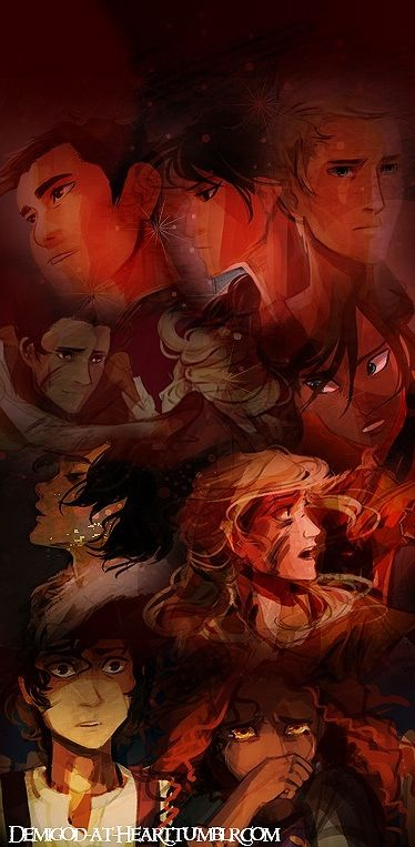 The Heroes of Olympus: Percy Jackson, Annabeth Chase, Piper McLean, Jason Grace, Frank Zhang, Hazel Levesque, Nico Di Angelo, and Reyna