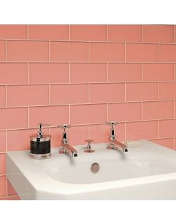 Glass Subway Tile Coral 3 x 6 Piece bathroom Pinterest