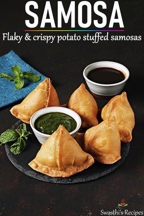 Samosa is an immensely popular snack from India. Make the best crunchy flaky and delicious potato stuffed samosas with this recipe. #indianfood #snack #samosa #samosarecipe #vegan