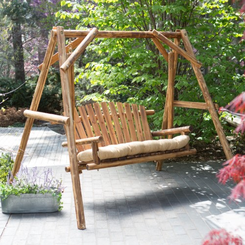 Coral Coast Rustic Oak Log Curved Back Porch Swing And A Frame Set