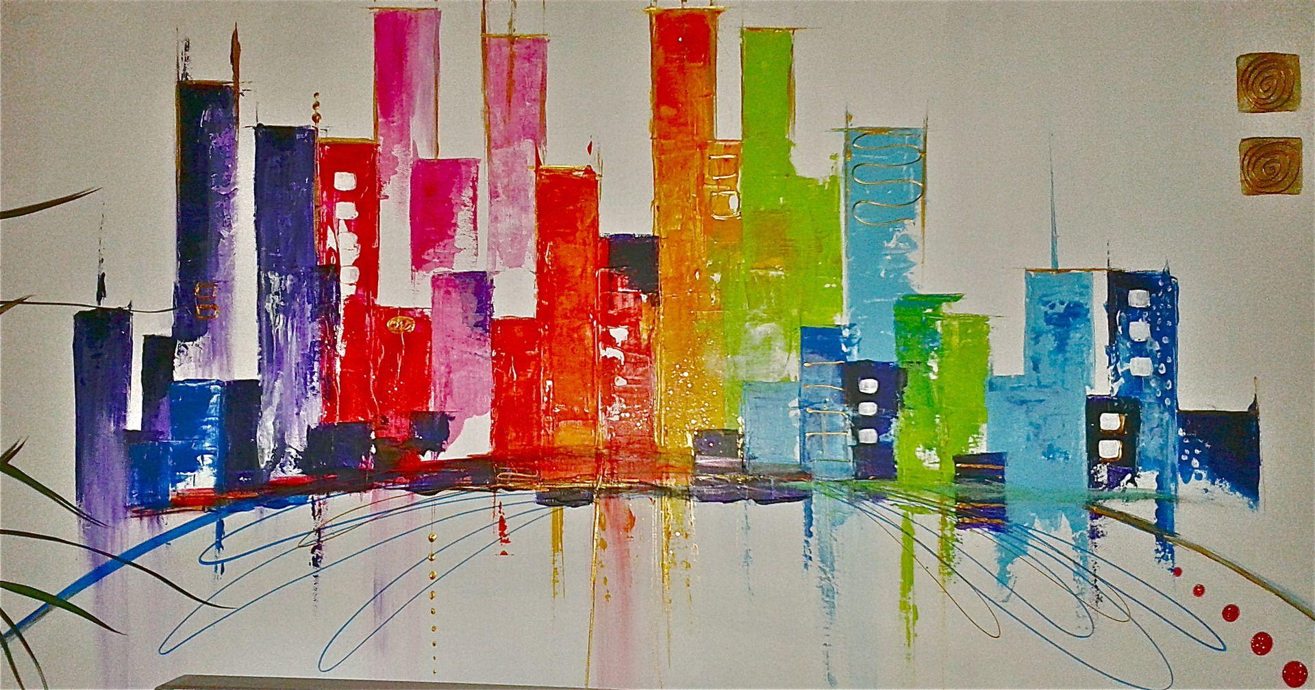 Le phare rouge peinture sur bois art abstrait fonds d for Peinture contemporaine abstraite