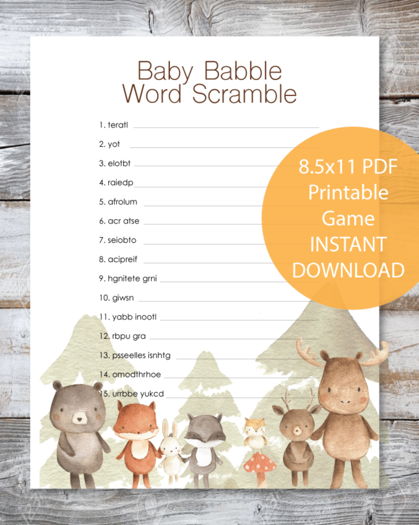 Woodland Watercolor Animals Baby Babble Word Scramble Baby
