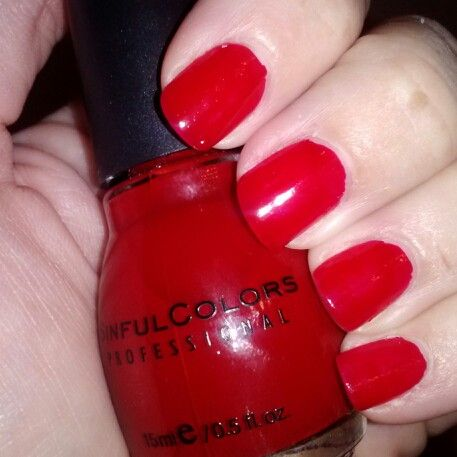 Classic red nails. Ruby Ruby by Sinful Colors