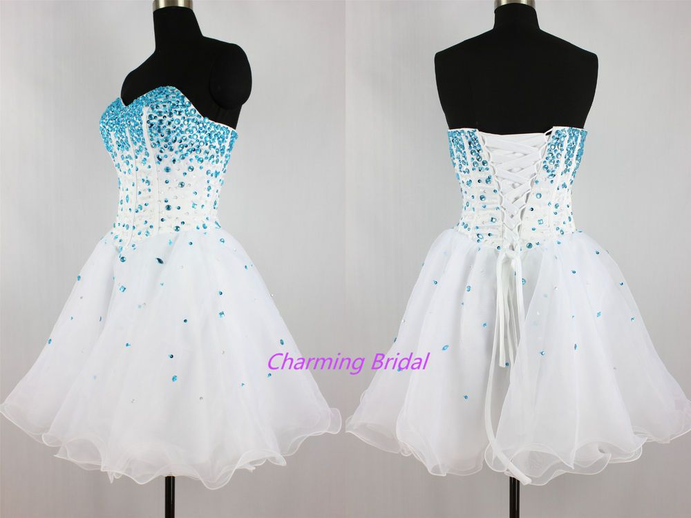 Strapless A Line Blue Crystal White Short Prom Dress Cheap
