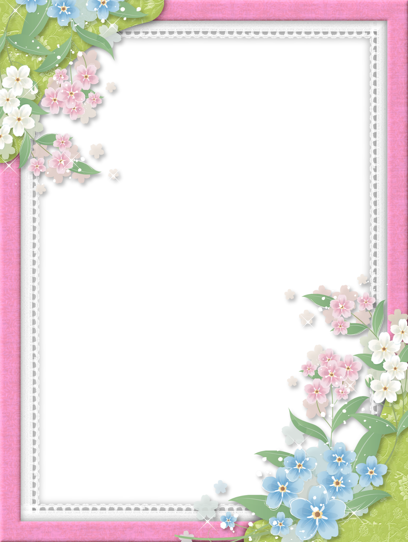 Pink Transparent Frame with Flowers | floral frames ...