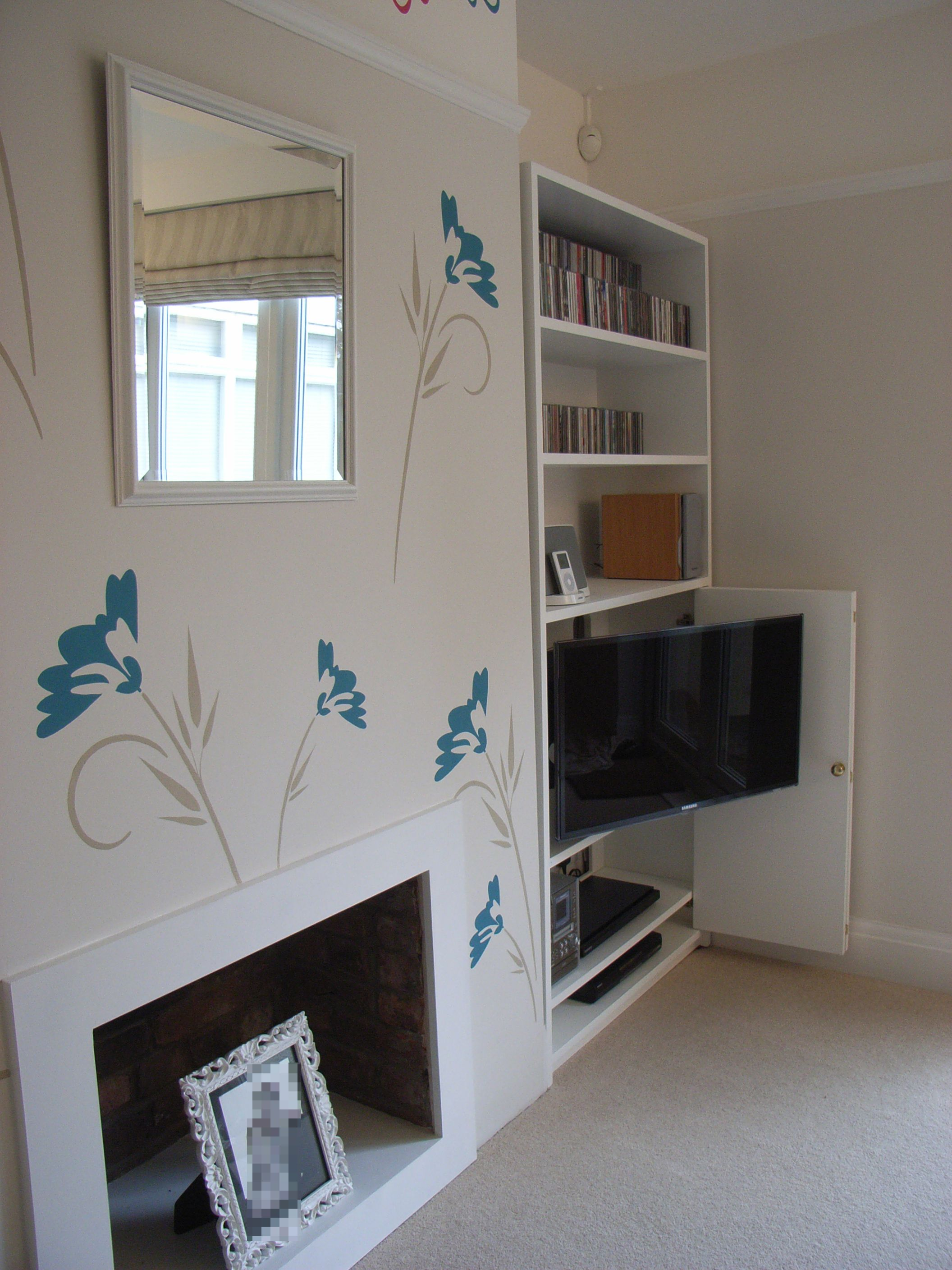 TV hidden in alcove unit. Note bifold doors fold to one side to assist viewing & TV hidden in alcove unit. Note bifold doors fold to one side to ...