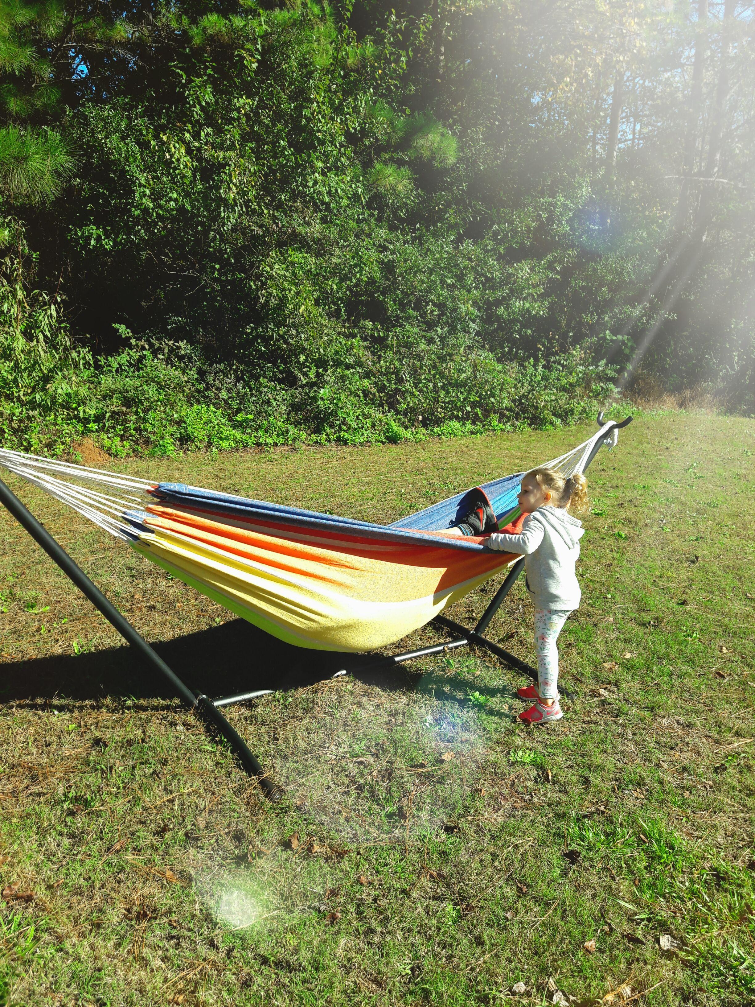 Lazy daze hammocks double hammock with space saving steel stand