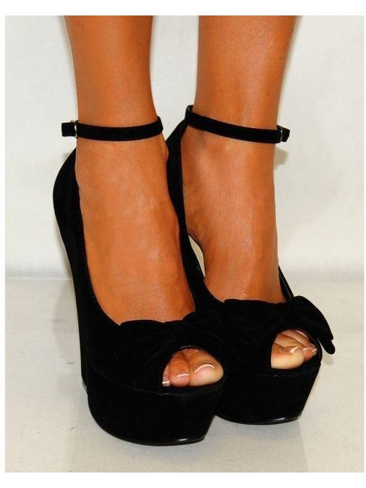 46e14c73ebe Koi Couture Ladies Black Suede Bow Strappy Platform Wedges Shoes ...