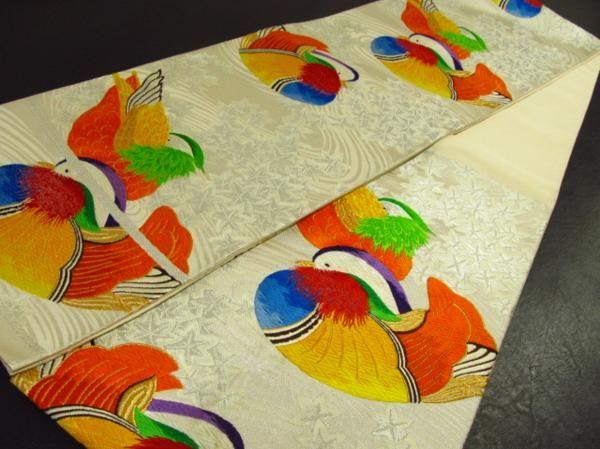 ★着物10★ 1円 絹 竜田川に鴛鴦 袋帯 ☆☆☆_画像3