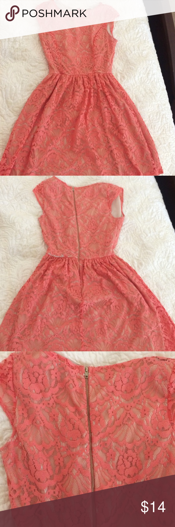Peach lace summer dress Can be worn casually or for a special occasion. Good condition. Size medium, but fits like a small. Zipper in tact. PRICE NEGOTIABLE** Dresses Mini