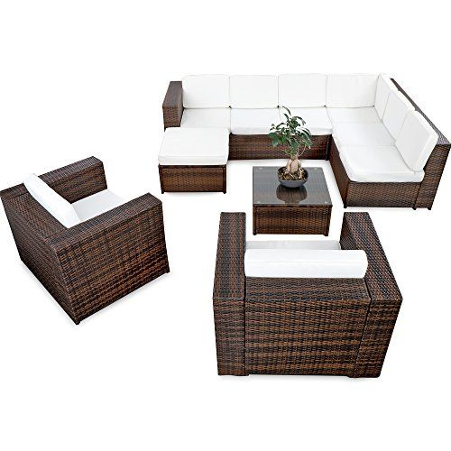 XINRO 25tlg. Deluxe Lounge Garnitur Set Gruppe Polyrattan Sitzgruppe ...