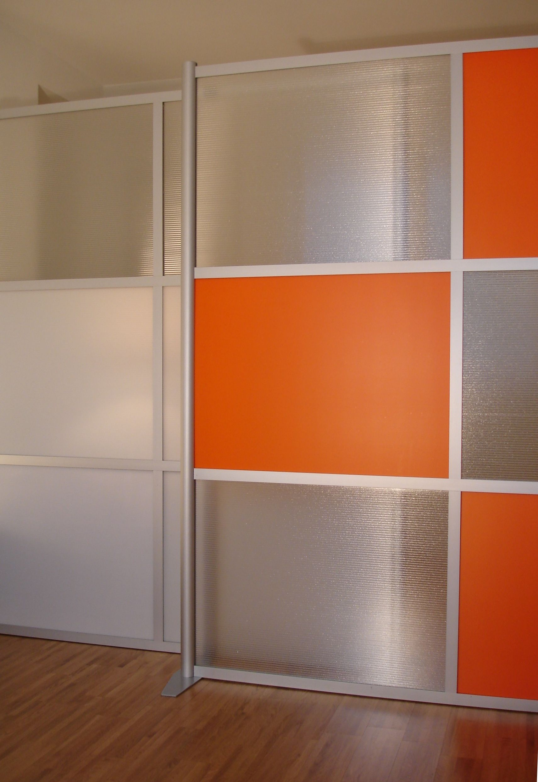 Studio Wall Modern With Orange And Grey Modular Room Dividers