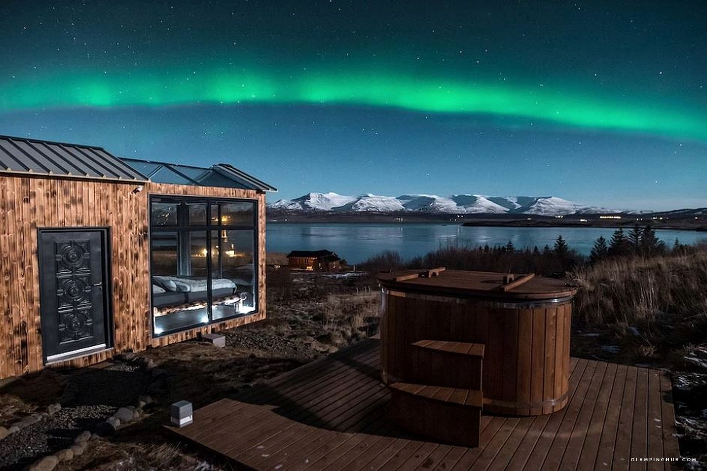 Natural Jacuzzi Iceland.Gorgeous Glass Cabin With Northern Lights Views Near