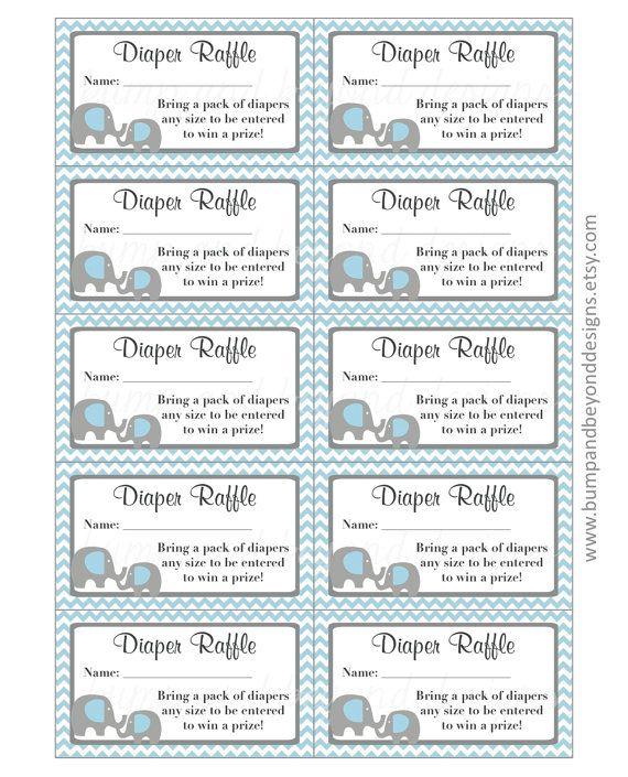 Elephant Diaper Raffle Tickets INSTANT by BumpAndBeyondDesigns ...
