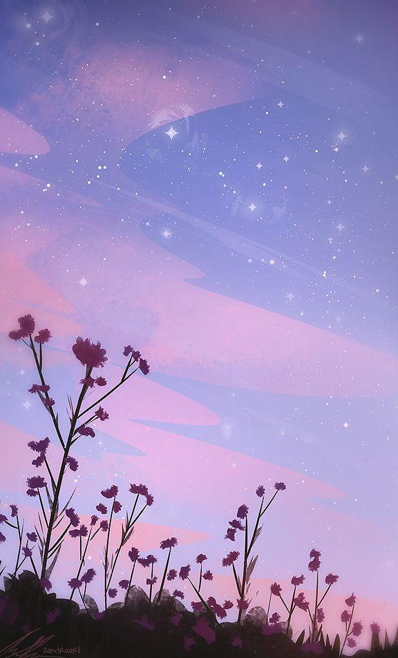 ZandraArt — twilight flowers in 2020   Anime scenery ...