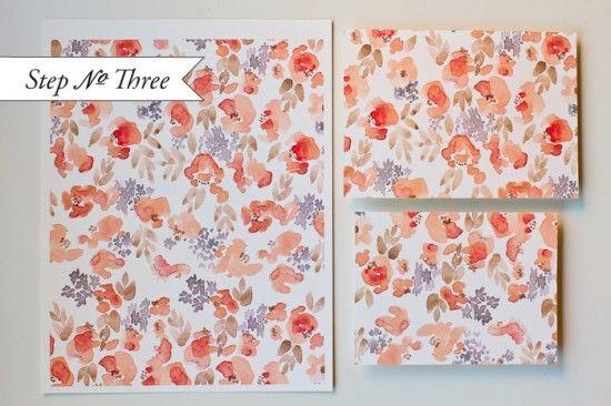 Oh So Beautiful Paper: DIY Tutorial: Watercolor Floral Pattern Wedding Invitations