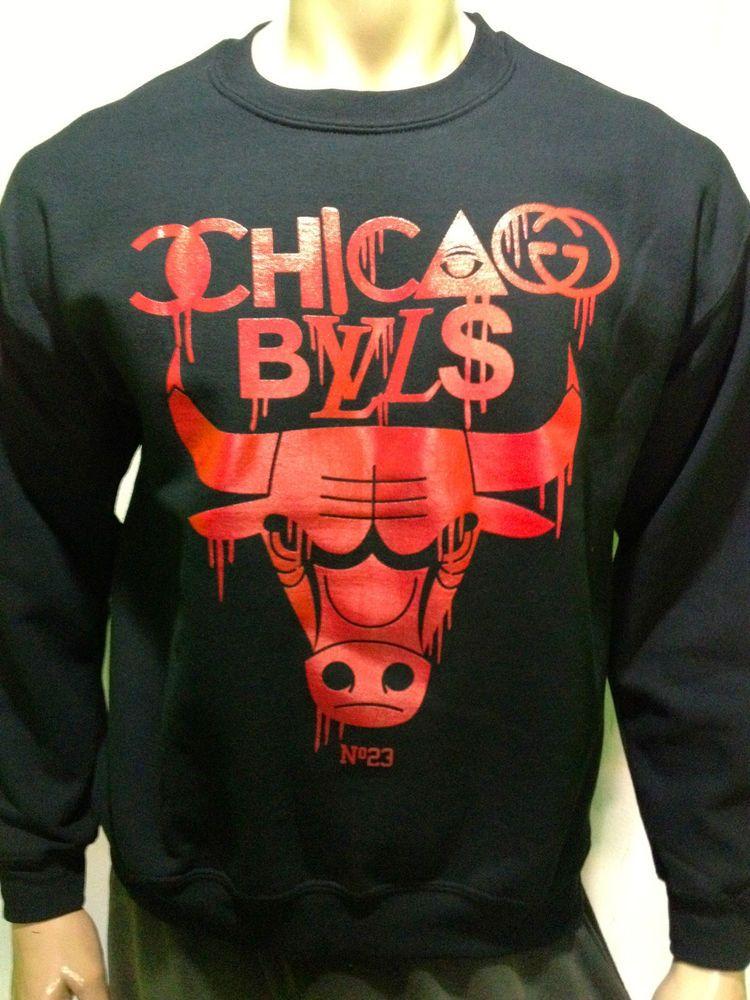 Chicago Bulls Sweatshirt   Sweater   Crewneck No.23 Jordan Black Red   Gildan  SweatshirtCrew 4a04d1235