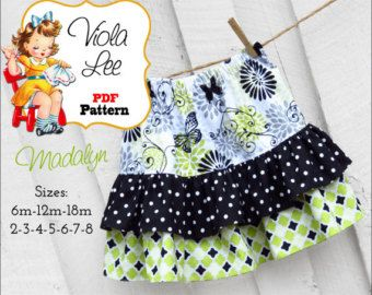 Girls skirt pattern pdf l Toddler ruffle skirt pattern l Easy children sewing patterns – 12 m to 12 years