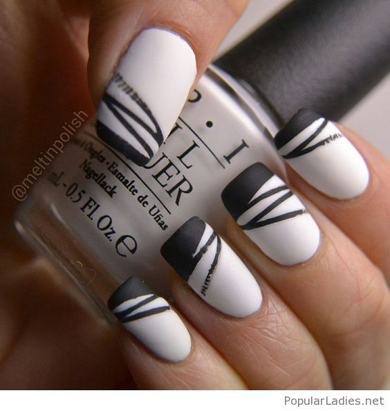 Matte black and white gel nails | White gel nails, Hair style and Makeup