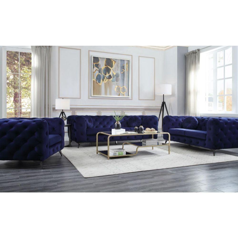 Atronia Blue Sofa 54900 81090 Acme Corporation Fabric Sofas Blue Furniture Living Room Blue Living Room Navy Blue Living Room