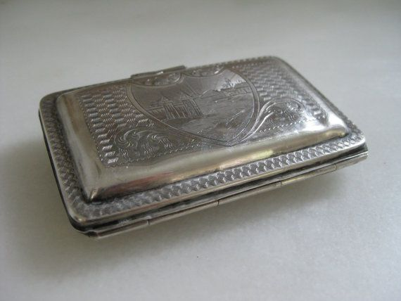 1920s silver-plate card case with salmon by VintageVagabondToo