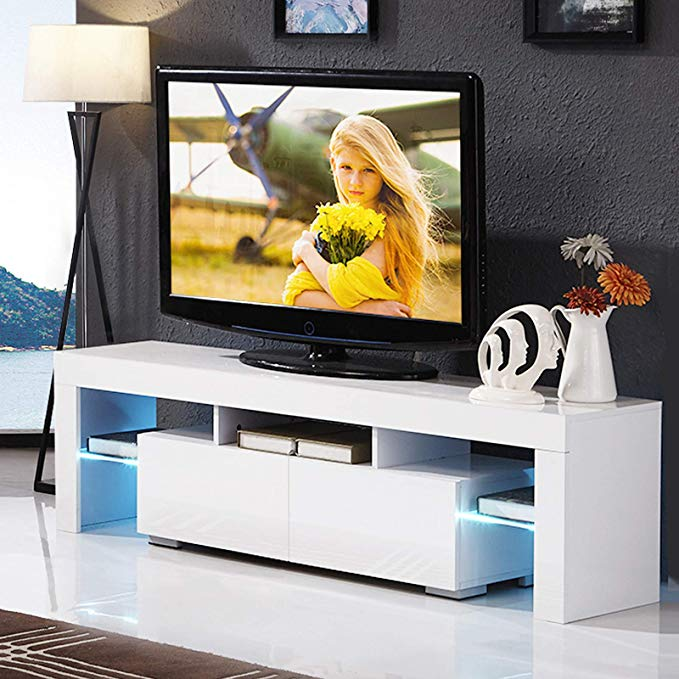 Mecor White Tv Stand With Lights Modern Led Tv Stand With Storage And Drawers White Tv Stands Tv Stand With Glass Doors Tv Stand With Led Lights