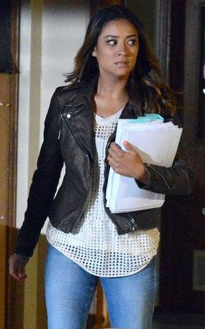 0f15206ea6fac Emily s white mesh top and metallic leather jacket on Pretty Little Liars.  Outfit Details