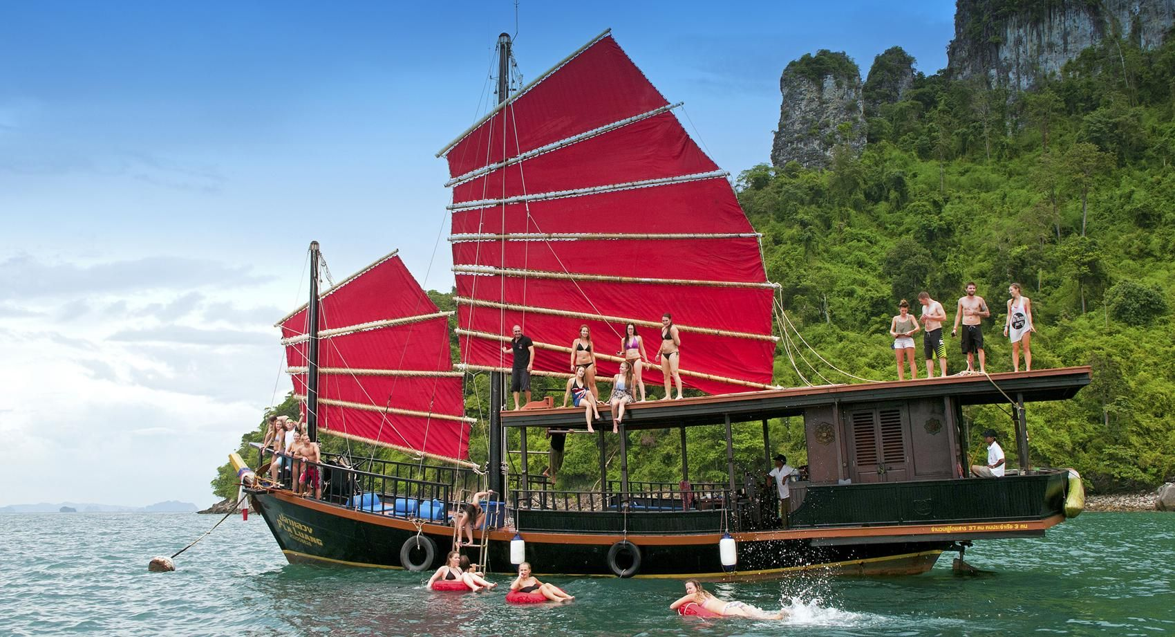 Book The Most Popular Cruise By Wooden Siamese Junk Boat Out To The 5 Islands In Krabi Thailand Www Krabisunsetc 4 Island Tour Krabi Sunset Cruise Island Tour