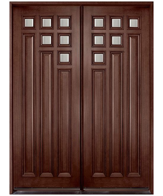 Contemporary series mahogany solid wood front entry door for Double wood front doors