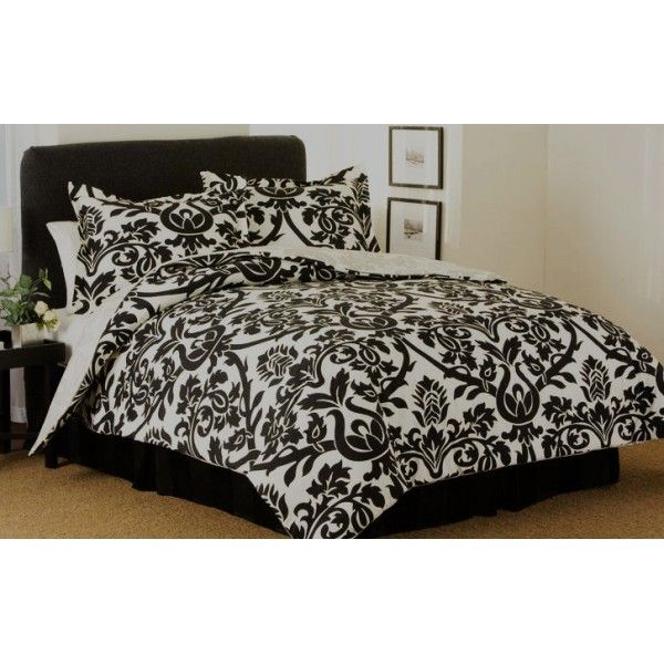 Modern Damask Black And White Comforter Bedding
