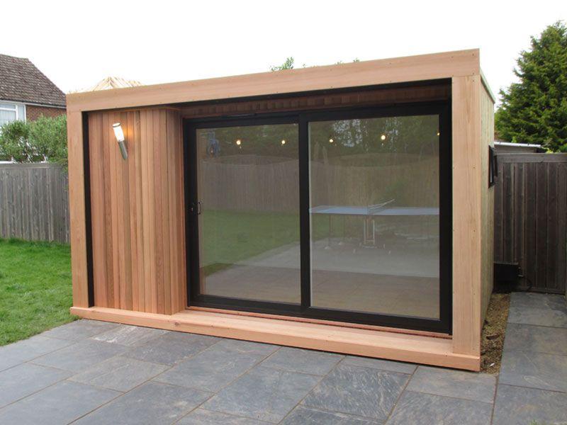 4x3m Edge Garden Room With Cedar Cladding And 3m Sliding Door Set From 12 995 Inc Vat Cedar Cladding Backyard Office Garden Cabins