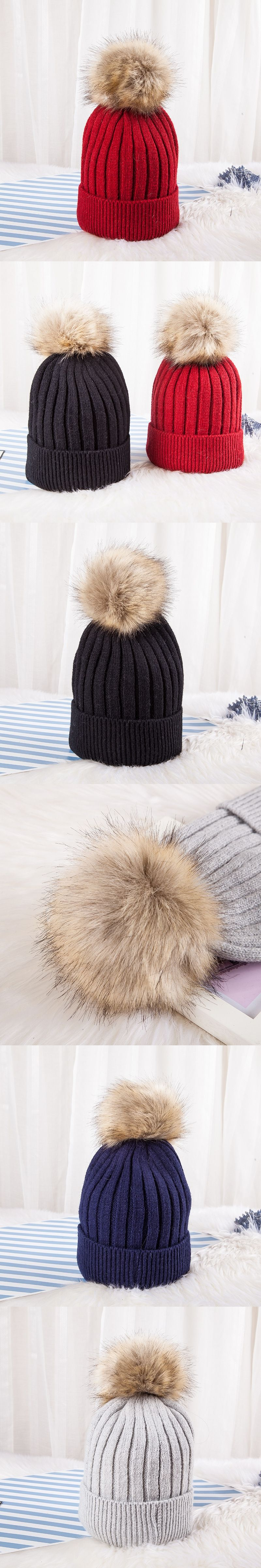 c91c218dc6b Fox Pompoms Hats for Women Solid Color Removable fur pompon ball wool  knitted skullies beanies Warm