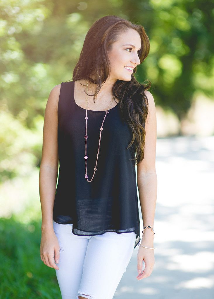 Follow My Lead Sleeveless Top - Black
