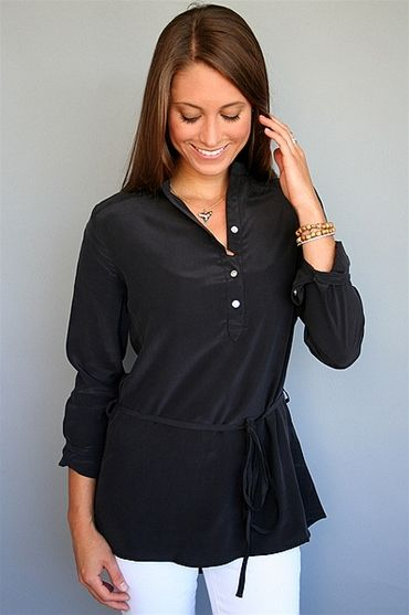 LA Made - Black Silk Mandarin Tunic