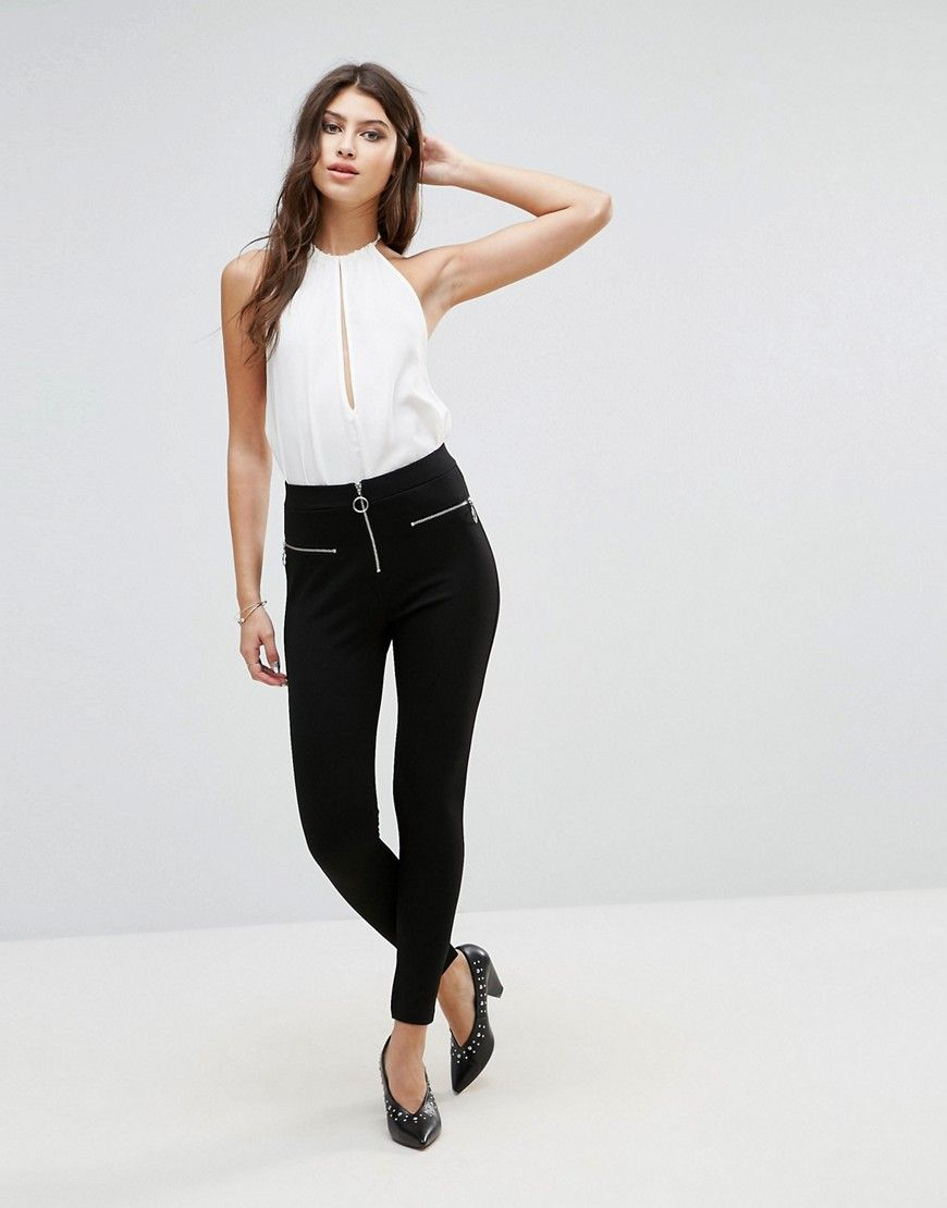 88d9504a8bfdae ASOS Tregging with Zip Detail - Black: Treggings by ASOS Collection, Smooth  stretch fabric, Mid-rise waist, Elasticated waistband, Ring pull zip, ...