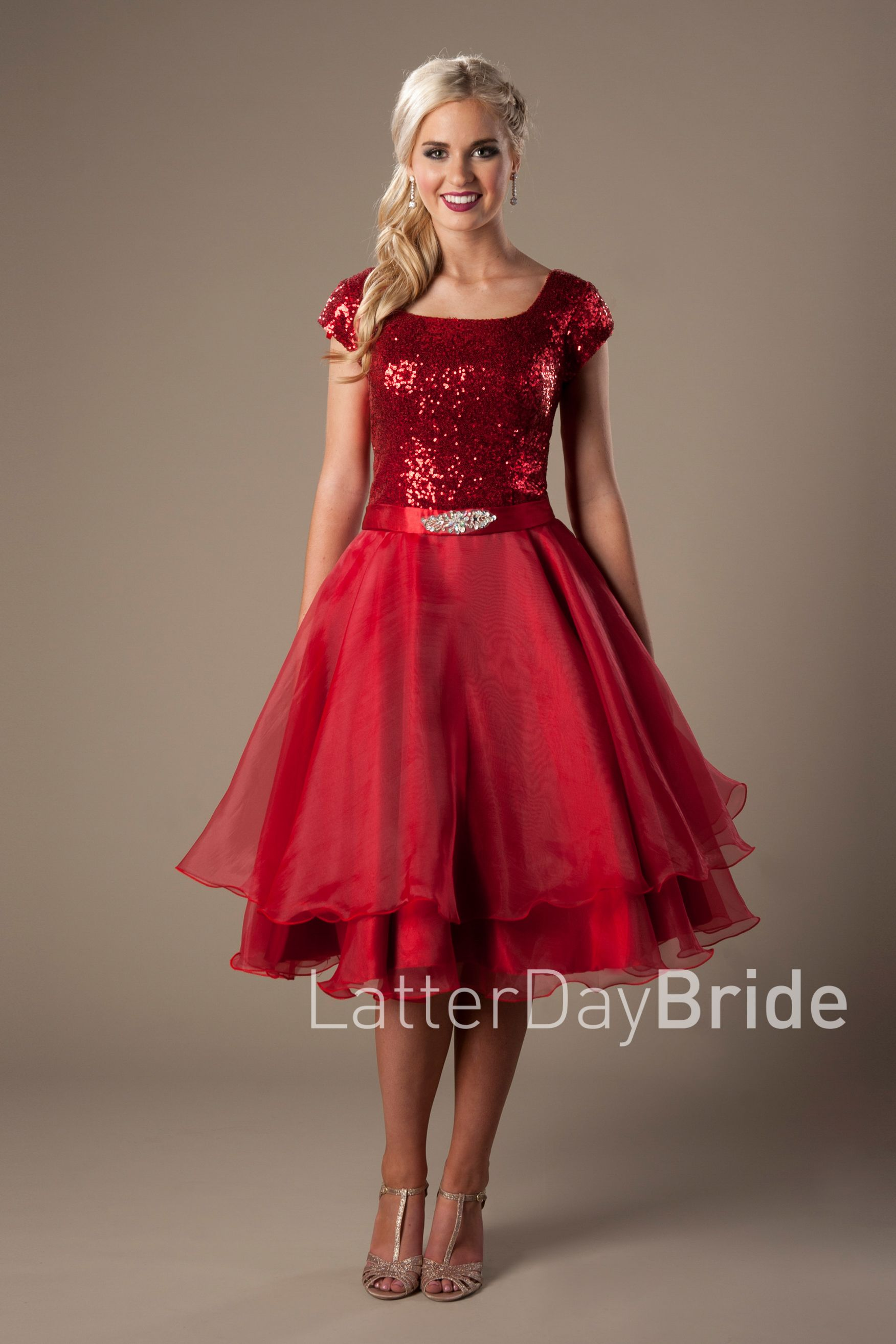 Sparkly red modest dress style for ma pinterest tea length
