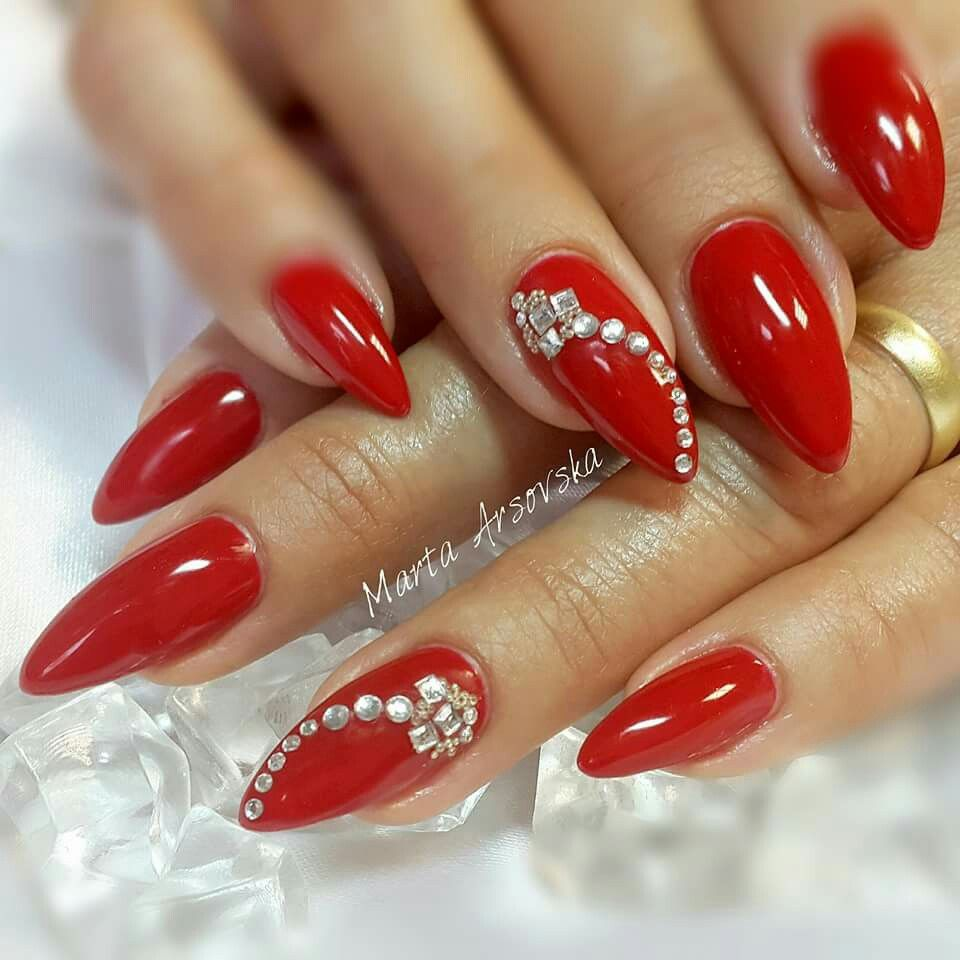 Nails 2017 Red Beautiful Nail Art Ideas Arts Pretty Designs Diamonds Stiletto