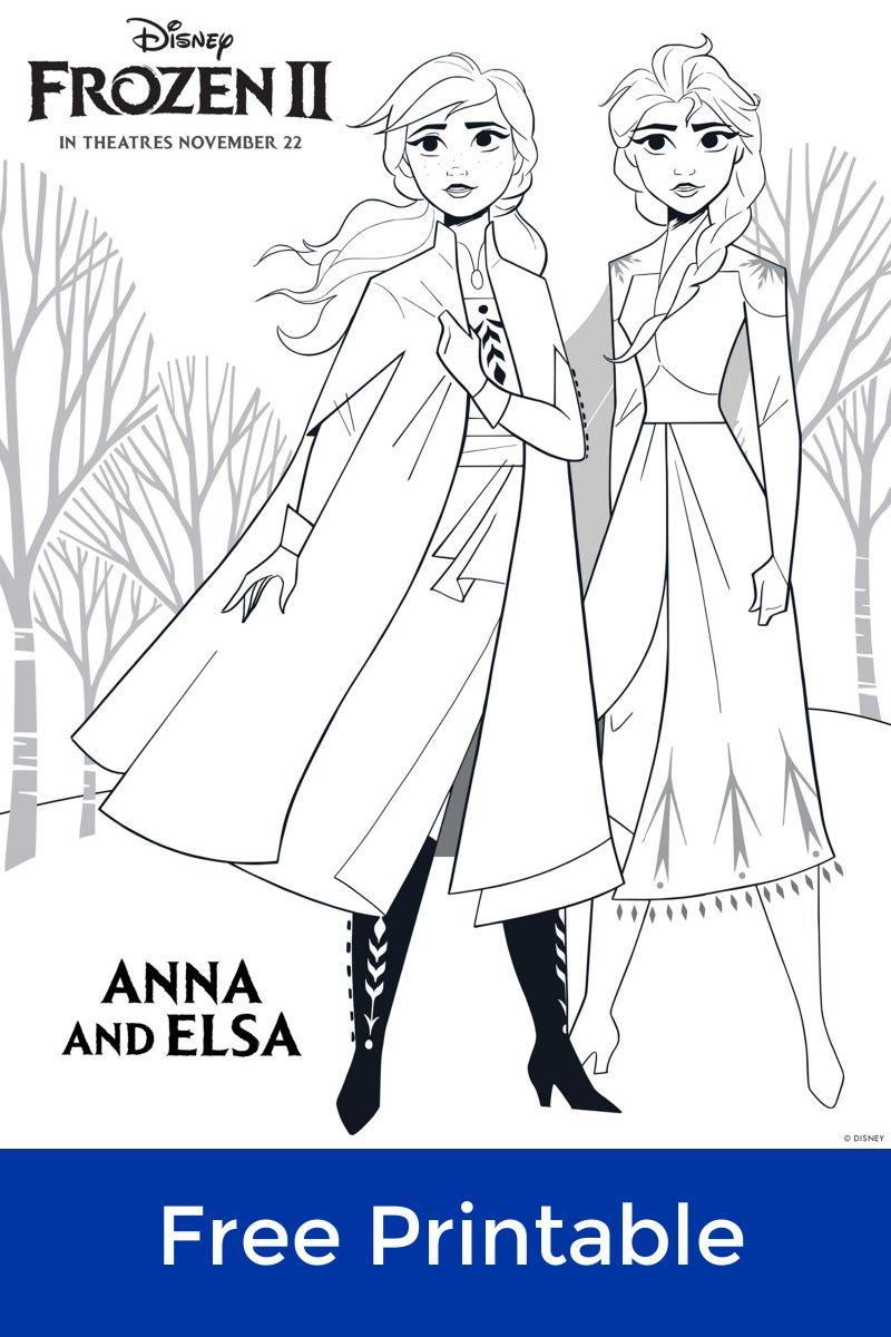 Disney Frozen 2 Free Printable Anna And Elsa Coloring Page Freeprintable Frozen Frozen2 Disneycol Elsa Coloring Pages Princess Coloring Pages Elsa Coloring