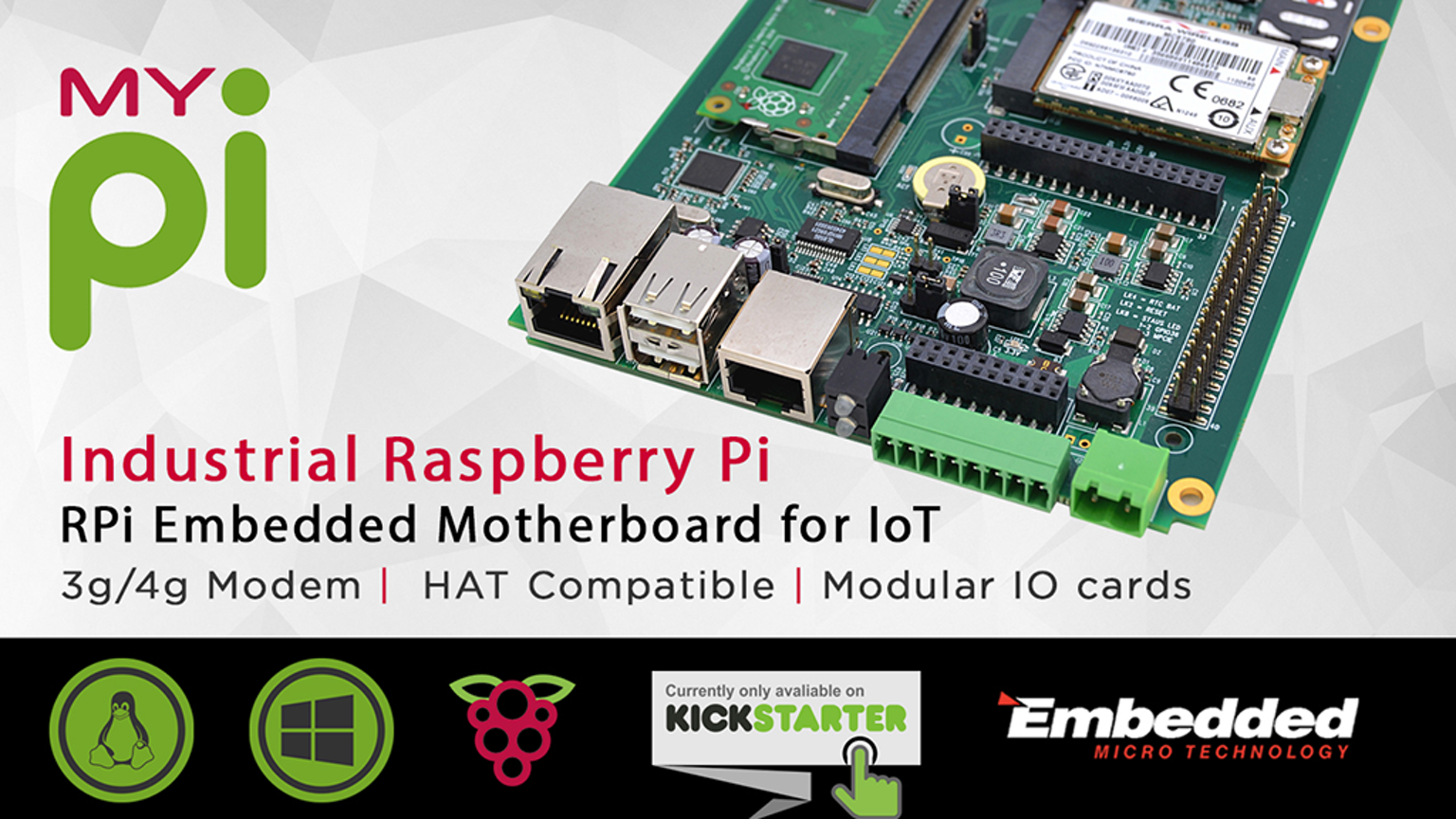 Feature rich embedded motherboard for use with the Raspberry